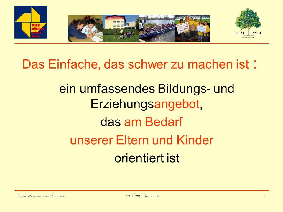 Grüne Schule www.warnowschule.de 29.06.2010 Greifswald Zeplien Warnowschule Papendorf3 Das Einfache, das schwer zu machen ist : ein umfassendes Bildun