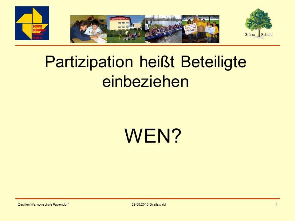 Grüne Schule www.warnowschule.de 29.06.2010 Greifswald Zeplien Warnowschule Papendorf4 Partizipation heißt Beteiligte einbeziehen WEN