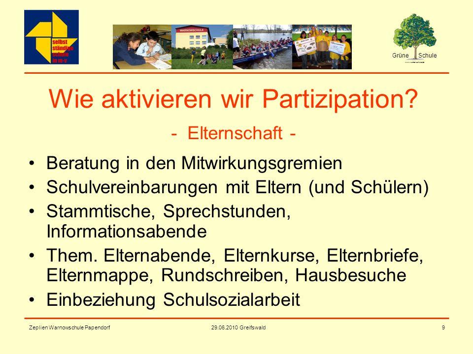Grüne Schule www.warnowschule.de 29.06.2010 Greifswald Zeplien Warnowschule Papendorf9 Wie aktivieren wir Partizipation? - Elternschaft - Beratung in