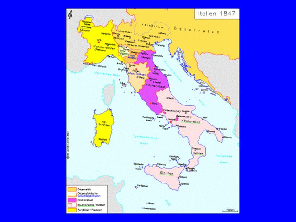 Die Einigung Italiens Nationale und liberale Bewegungen unmittelbar nach den napoleonischen Kriegen Untergrundbewegung: Carbonari Sturmjahr 1848
