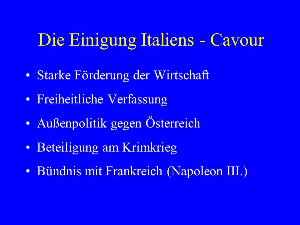 Die Einigung Italiens - 1859 Österreich zum Krieg provoziert Entscheidende Niederlagen der Habsburger bei Magenta und Solferino Österreich verliert die Lombardei Frankreich erhält Nizza und Savoyen Henri Dunant gründet das Rote Kreuz 1864 - Genfer Konvention