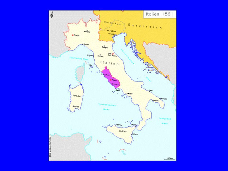 Die Einigung Italiens - 1866 Bündnis Italiens mit Preußen, Krieg gegen Österreich 1866 Österreichischer Sieg bei Custozza und Lissa Preußischer Sieg bei Königgrätz Österreich verliert Venetien an Italien