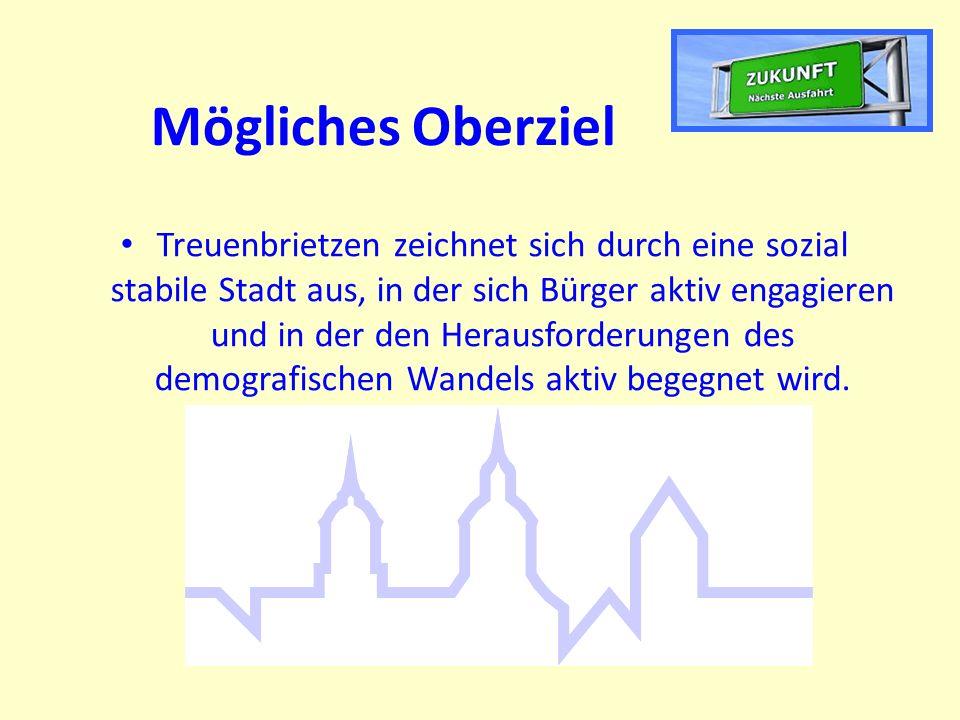Mögliches Oberziel Treuenbrietzen zeichnet sich durch eine sozial stabile Stadt aus, in der sich Bürger aktiv engagieren und in der den Herausforderungen des demografischen Wandels aktiv begegnet wird.