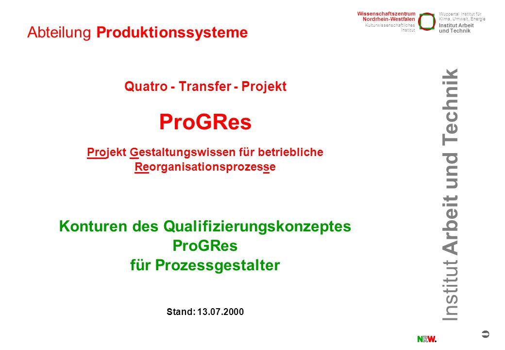 Institut Arbeit und Technik Abteilung Produktionssysteme ProGRes / Qualifizierungskonzept / 13.7.2000 / Seite 11 Qualifizierungsschwerpunkte Hausarbeit Das Phasenmodell 1.