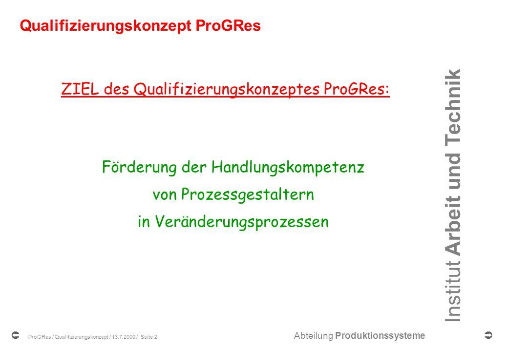 Institut Arbeit und Technik Abteilung Produktionssysteme ProGRes / Qualifizierungskonzept / 13.7.2000 / Seite 2 Qualifizierungskonzept ProGRes ZIEL des Qualifizierungskonzeptes ProGRes: Förderung der Handlungskompetenz von Prozessgestaltern in Veränderungsprozessen