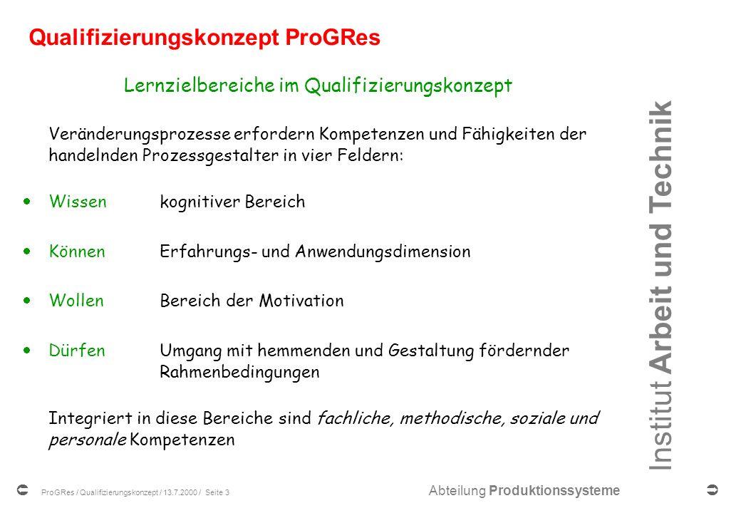 Institut Arbeit und Technik Abteilung Produktionssysteme ProGRes / Qualifizierungskonzept / 13.7.2000 / Seite 13 Das Phasenmodell 1.