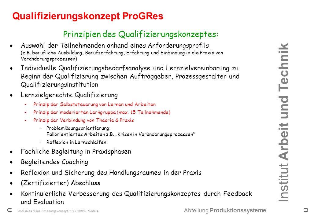 Institut Arbeit und Technik Abteilung Produktionssysteme ProGRes / Qualifizierungskonzept / 13.7.2000 / Seite 4 Qualifizierungskonzept ProGRes Prinzipien des Qualifizierungskonzeptes: Auswahl der Teilnehmenden anhand eines Anforderungsprofils (z.B.