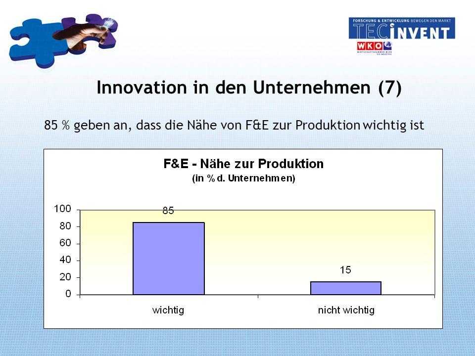 Innovation in den Unternehmen (7) 85 % geben an, dass die Nähe von F&E zur Produktion wichtig ist