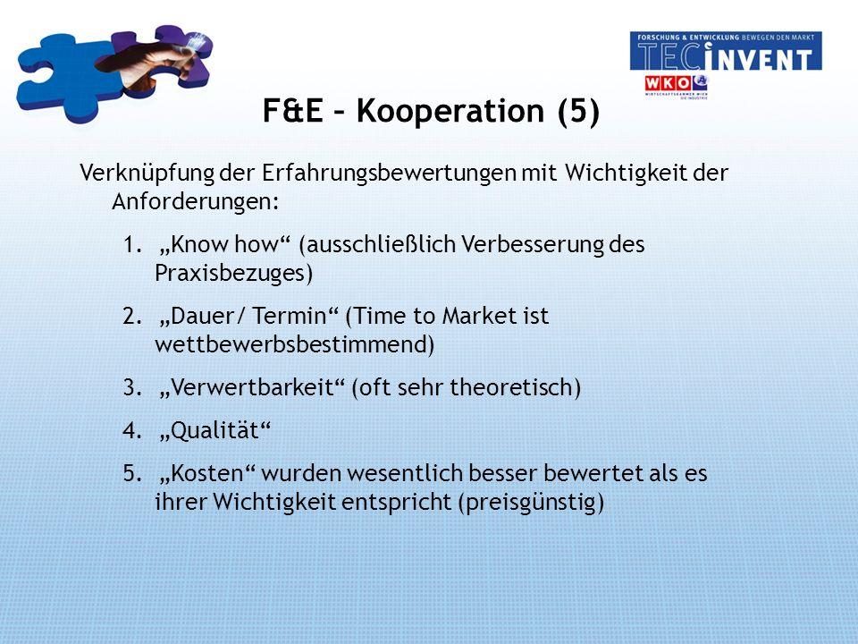 F&E – Kooperation (5) Verknüpfung der Erfahrungsbewertungen mit Wichtigkeit der Anforderungen: 1.