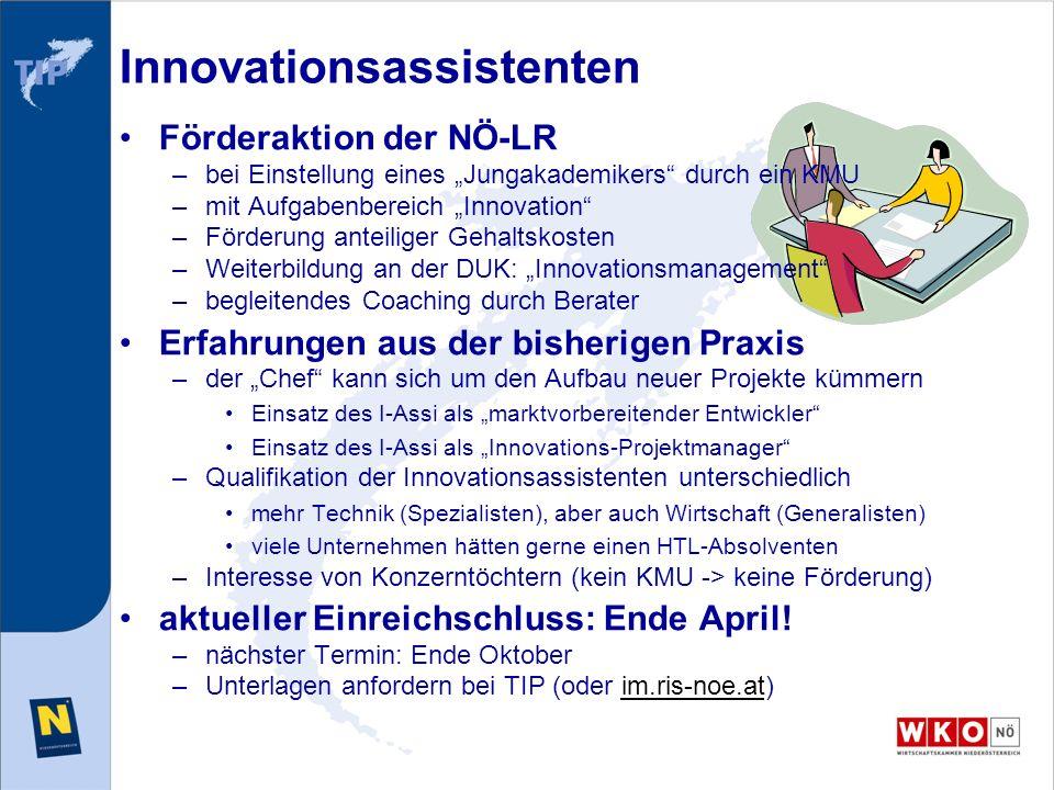 Innovationsassistenten Förderaktion der NÖ-LR –bei Einstellung eines Jungakademikers durch ein KMU –mit Aufgabenbereich Innovation –Förderung anteilig