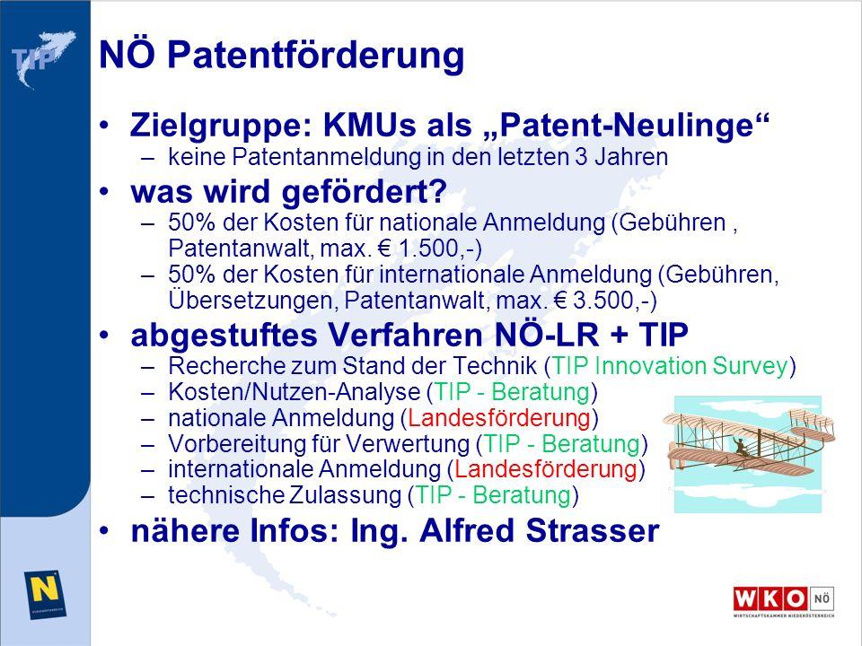 NÖ Patentförderung Zielgruppe: KMUs als Patent-Neulinge –keine Patentanmeldung in den letzten 3 Jahren was wird gefördert? –50% der Kosten für nationa