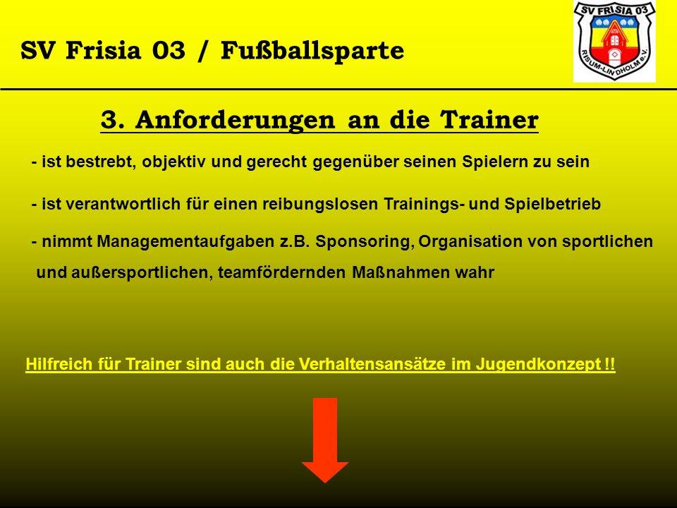 SV Frisia 03 / Fußballsparte 3. Anforderungen an die Trainer - ist bestrebt, objektiv und gerecht gegenüber seinen Spielern zu sein - ist verantwortli