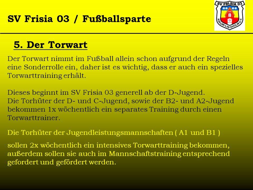 5. Der Torwart Der Torwart nimmt im Fußball allein schon aufgrund der Regeln eine Sonderrolle ein, daher ist es wichtig, dass er auch ein spezielles T