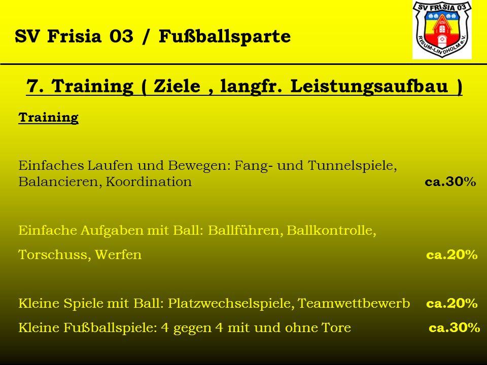 SV Frisia 03 / Fußballsparte 7. Training ( Ziele, langfr. Leistungsaufbau ) Training Einfaches Laufen und Bewegen: Fang- und Tunnelspiele, Balancieren