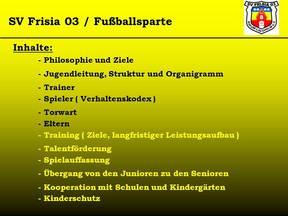 SV Frisia 03 / Fußballsparte Inhalte: - Philosophie und Ziele - Jugendleitung, Struktur und Organigramm - Kooperation mit Schulen und Kindergärten - T