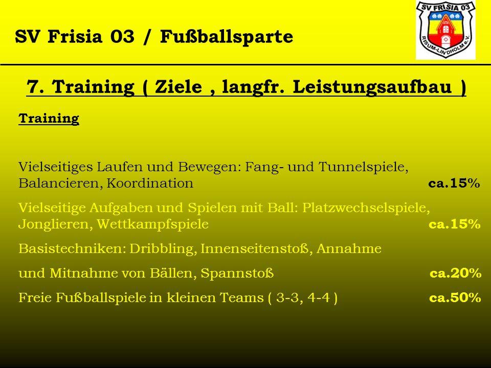 SV Frisia 03 / Fußballsparte Training Vielseitiges Laufen und Bewegen: Fang- und Tunnelspiele, Balancieren, Koordination ca.15% Vielseitige Aufgaben u
