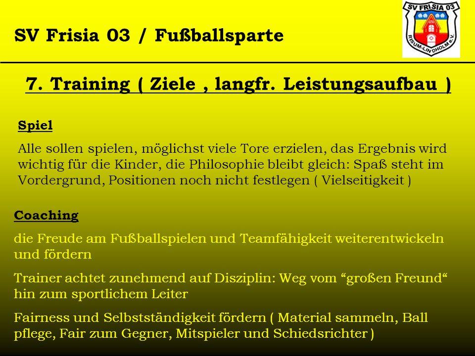 SV Frisia 03 / Fußballsparte 7. Training ( Ziele, langfr. Leistungsaufbau ) Spiel Alle sollen spielen, möglichst viele Tore erzielen, das Ergebnis wir
