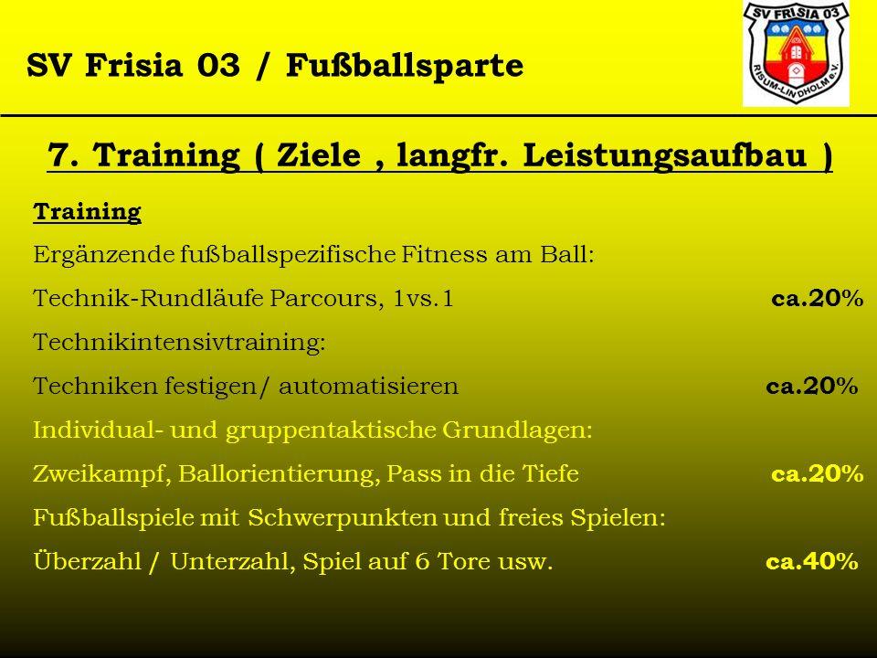 SV Frisia 03 / Fußballsparte 7. Training ( Ziele, langfr. Leistungsaufbau ) Training Ergänzende fußballspezifische Fitness am Ball: Technik-Rundläufe