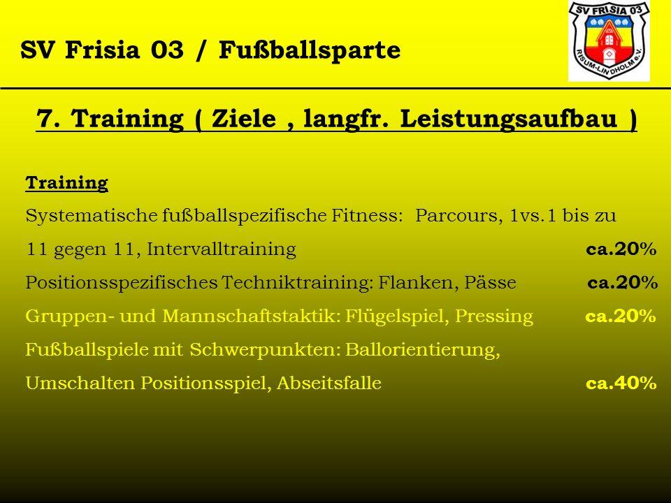 SV Frisia 03 / Fußballsparte Training Systematische fußballspezifische Fitness: Parcours, 1vs.1 bis zu 11 gegen 11, Intervalltraining ca.20% Positions