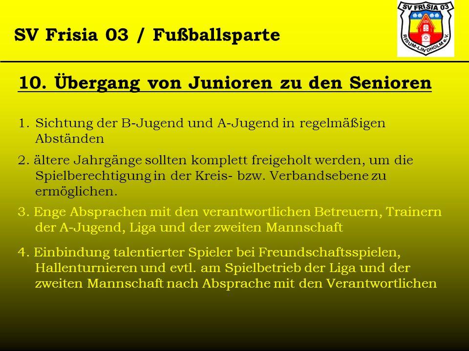 SV Frisia 03 / Fußballsparte 10. Übergang von Junioren zu den Senioren 1.Sichtung der B-Jugend und A-Jugend in regelmäßigen Abständen 2. ältere Jahrgä