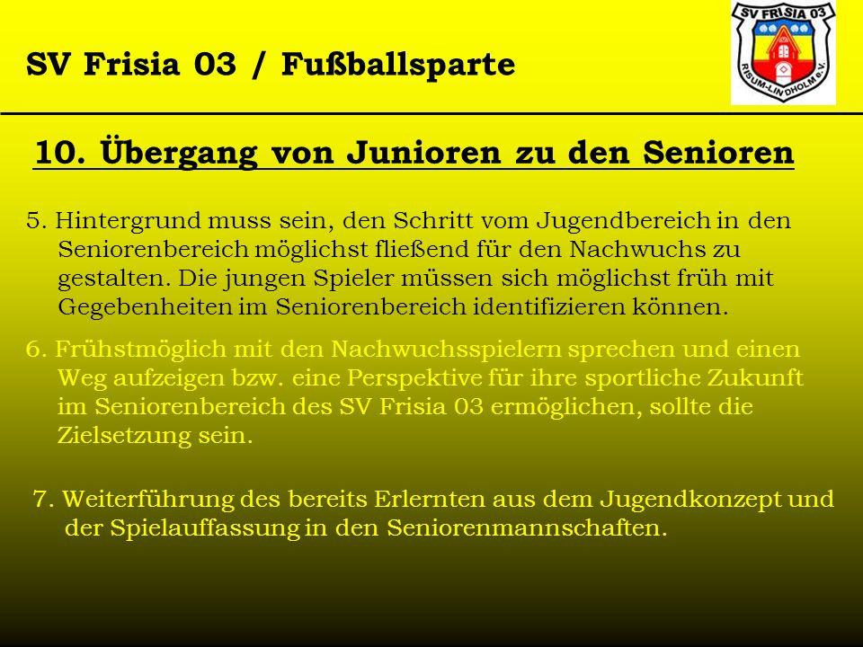 SV Frisia 03 / Fußballsparte 10. Übergang von Junioren zu den Senioren 5. Hintergrund muss sein, den Schritt vom Jugendbereich in den Seniorenbereich