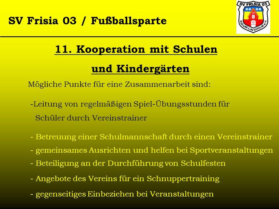 SV Frisia 03 / Fußballsparte Mögliche Punkte für eine Zusammenarbeit sind: 11. Kooperation mit Schulen und Kindergärten -Leitung von regelmäßigen Spie