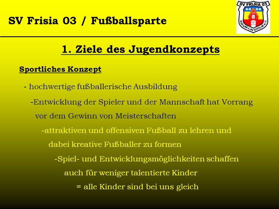 SV Frisia 03 / Fußballsparte Sportliches Konzept - hochwertige fußballerische Ausbildung -Entwicklung der Spieler und der Mannschaft hat Vorrang vor d