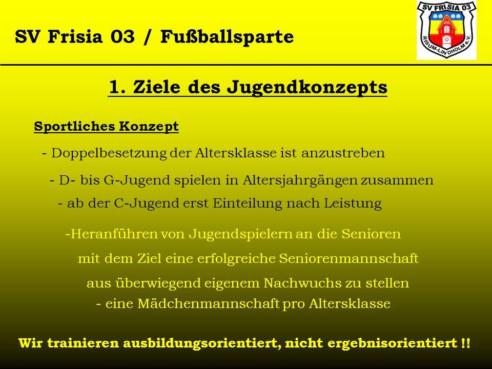 SV Frisia 03 / Fußballsparte Sportliches Konzept - Doppelbesetzung der Altersklasse ist anzustreben - D- bis G-Jugend spielen in Altersjahrgängen zusa