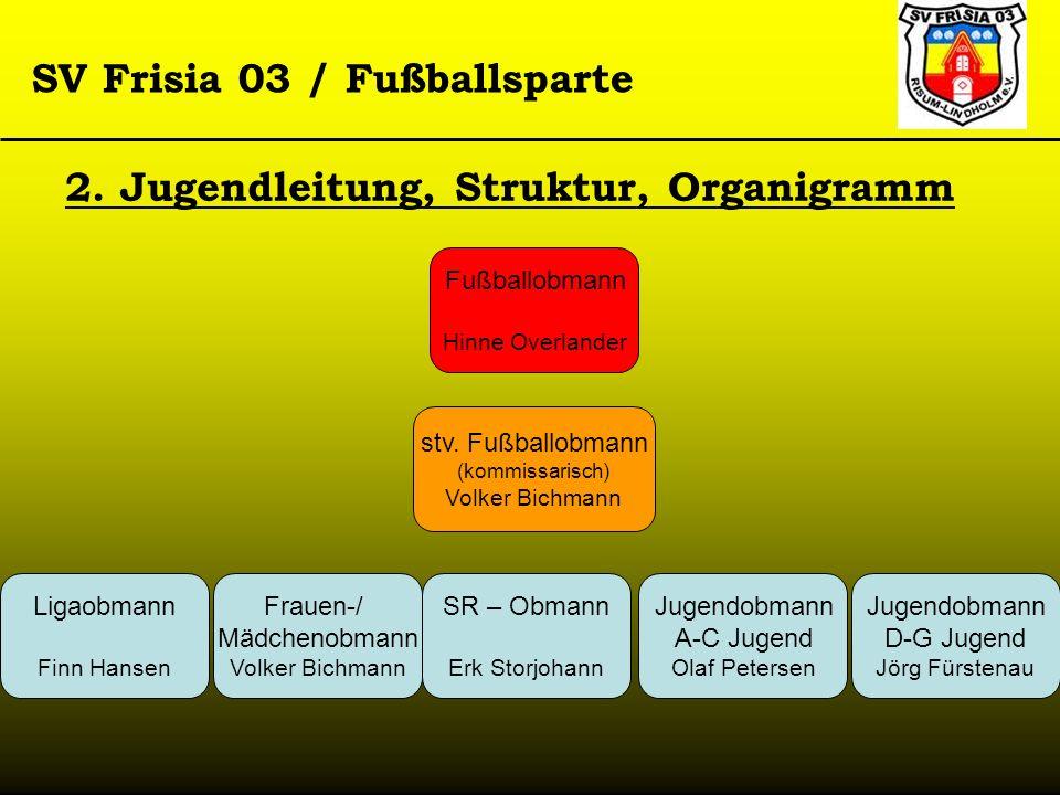 SV Frisia 03 / Fußballsparte 2. Jugendleitung, Struktur, Organigramm Fußballobmann Hinne Overlander stv. Fußballobmann (kommissarisch) Volker Bichmann