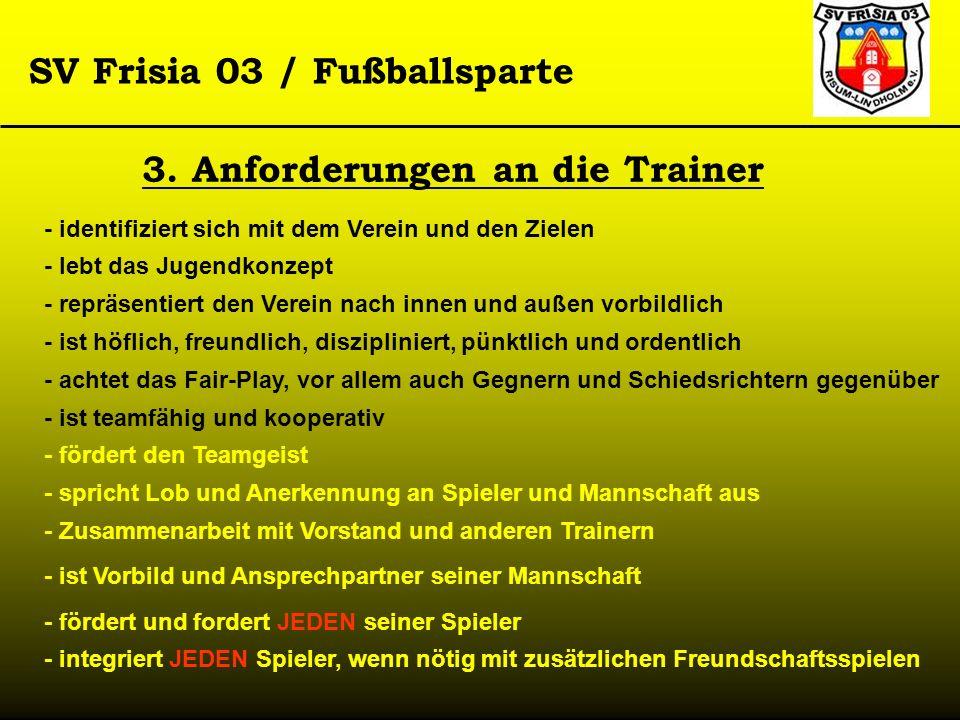 SV Frisia 03 / Fußballsparte 3. Anforderungen an die Trainer - identifiziert sich mit dem Verein und den Zielen - lebt das Jugendkonzept - repräsentie