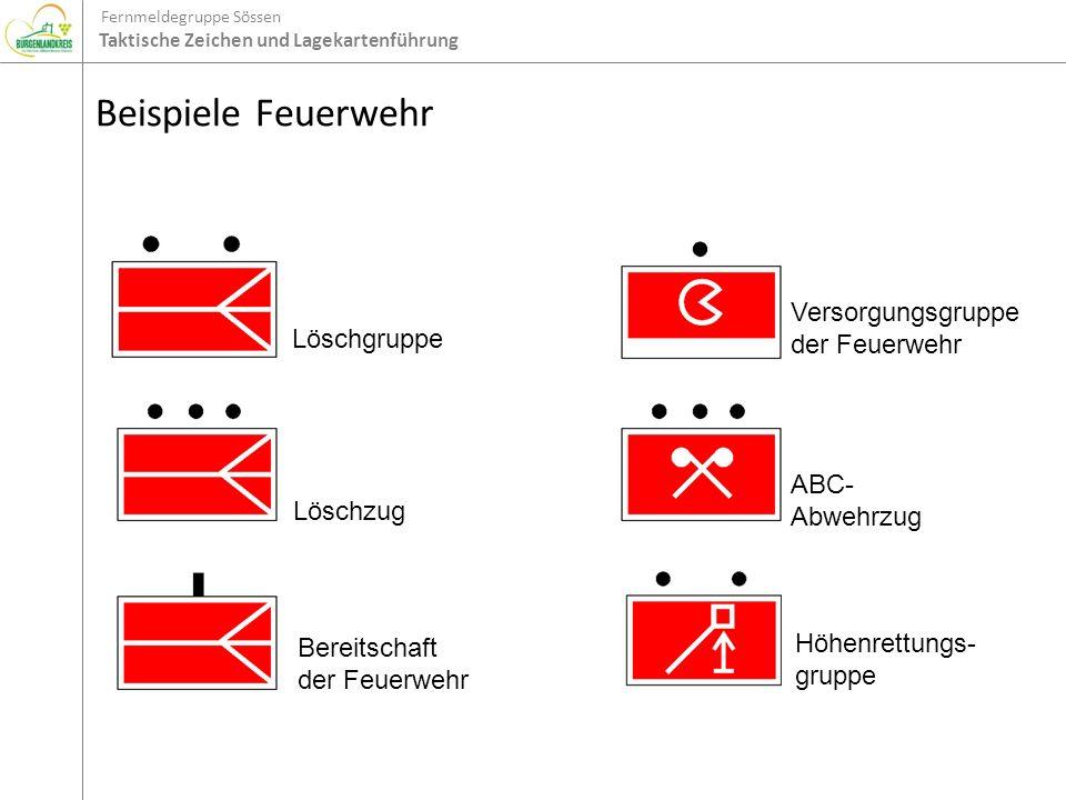 Fernmeldegruppe Sössen Taktische Zeichen und Lagekartenführung Beispiele Feuerwehr Löschgruppe Löschzug Bereitschaft der Feuerwehr Versorgungsgruppe d