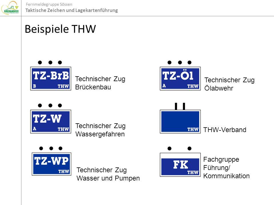 Fernmeldegruppe Sössen Taktische Zeichen und Lagekartenführung Beispiele THW Technischer Zug Brückenbau Technischer Zug Wassergefahren Technischer Zug