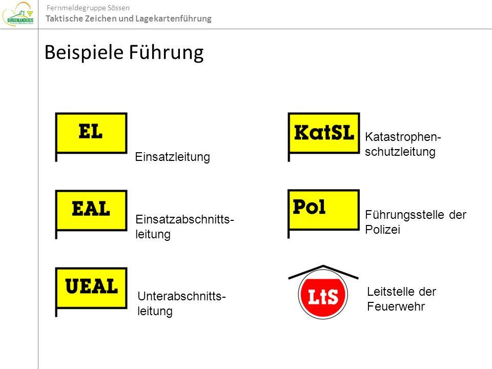 Fernmeldegruppe Sössen Taktische Zeichen und Lagekartenführung Beispiele Führung Einsatzleitung Einsatzabschnitts- leitung Unterabschnitts- leitung Ka