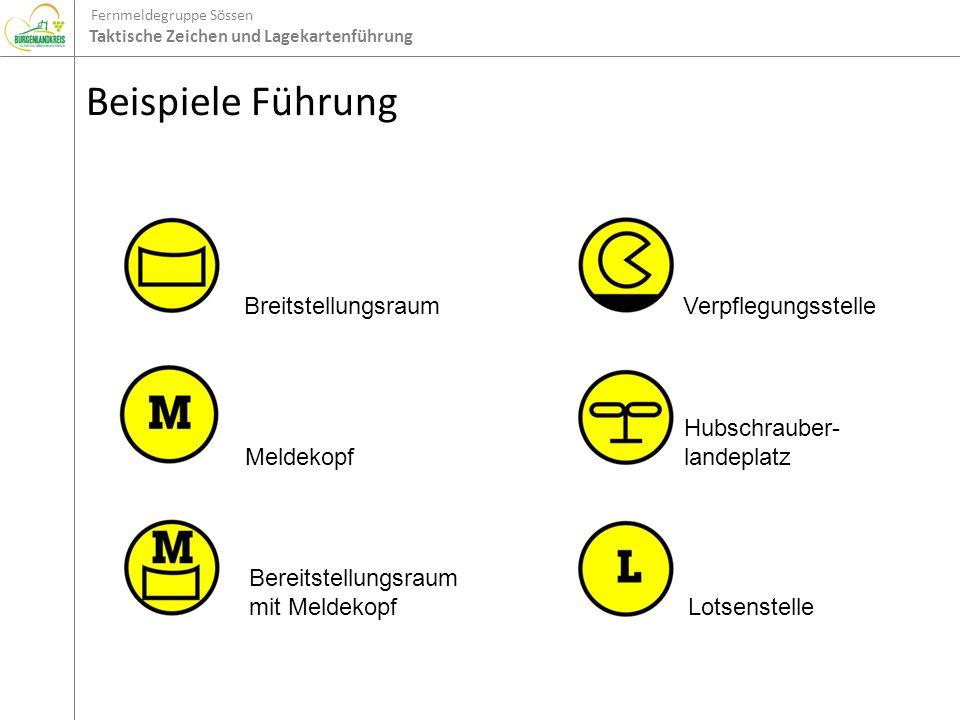 Fernmeldegruppe Sössen Taktische Zeichen und Lagekartenführung Beispiele Führung Breitstellungsraum Meldekopf Bereitstellungsraum mit Meldekopf Verpfl