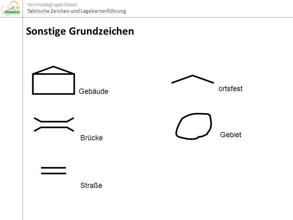 Fernmeldegruppe Sössen Taktische Zeichen und Lagekartenführung Sonstige Grundzeichen GebäudeBrücke Straße ortsfestGebiet