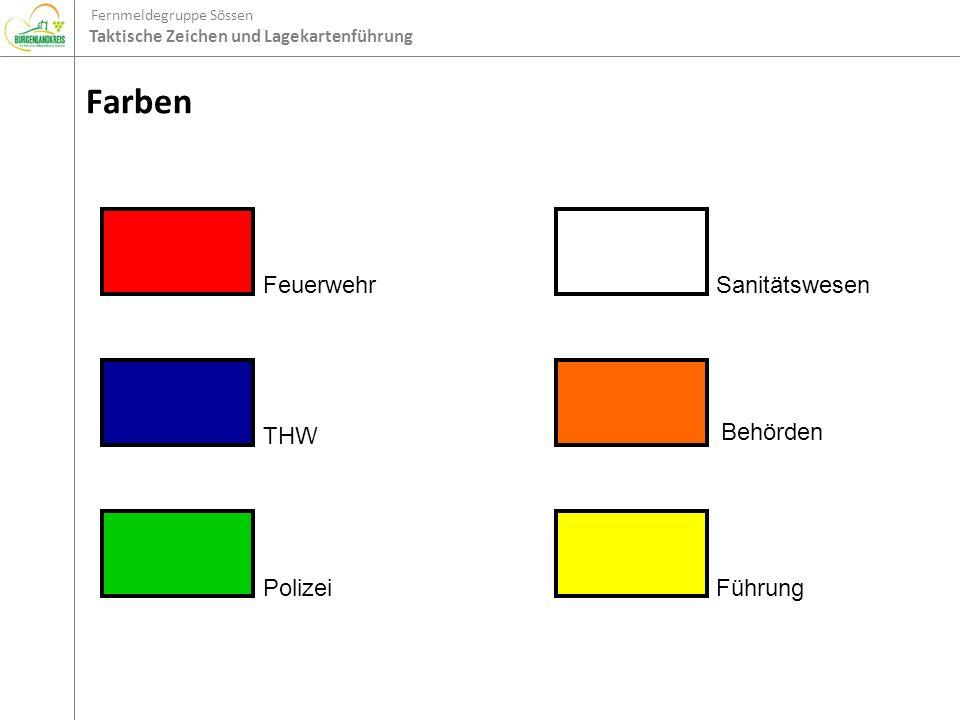 Fernmeldegruppe Sössen Taktische Zeichen und Lagekartenführung Farben Feuerwehr THW Polizei Sanitätswesen Behörden Führung