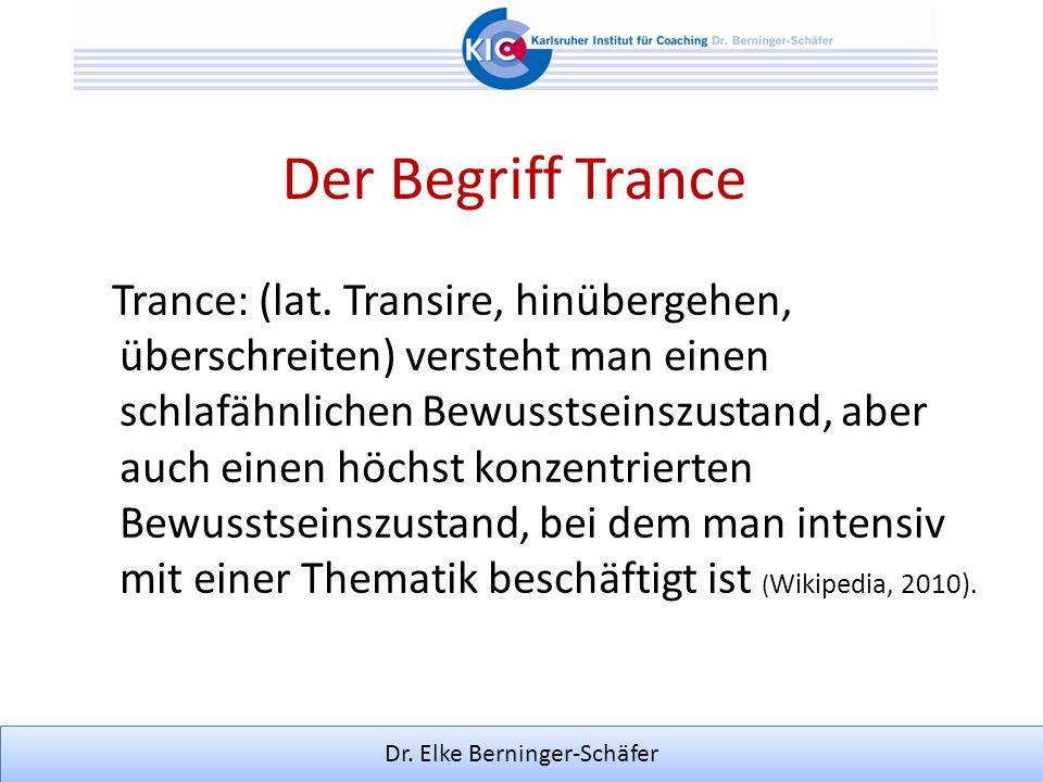 Der Begriff Trance Trance: (lat. Transire, hinübergehen, überschreiten) versteht man einen schlafähnlichen Bewusstseinszustand, aber auch einen höchst