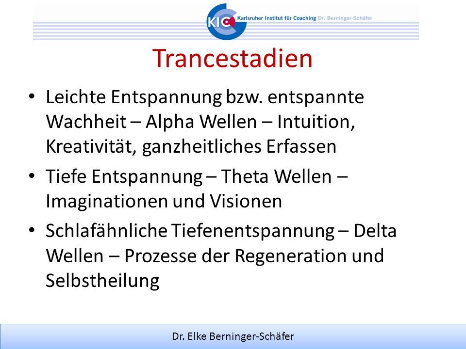 Dr. Elke Berninger-Schäfer Trancestadien Leichte Entspannung bzw. entspannte Wachheit – Alpha Wellen – Intuition, Kreativität, ganzheitliches Erfassen