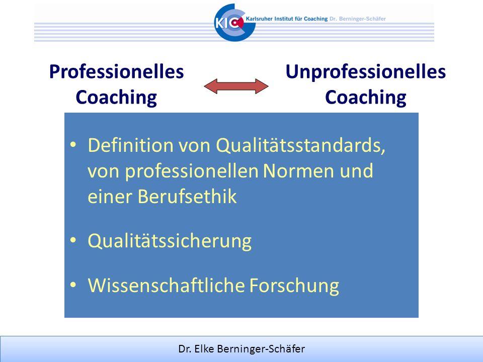 Dr. Elke Berninger-Schäfer Definition von Qualitätsstandards, von professionellen Normen und einer Berufsethik Qualitätssicherung Wissenschaftliche Fo