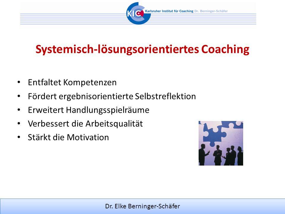 Dr. Elke Berninger-Schäfer Systemisch-lösungsorientiertes Coaching Entfaltet Kompetenzen Fördert ergebnisorientierte Selbstreflektion Erweitert Handlu