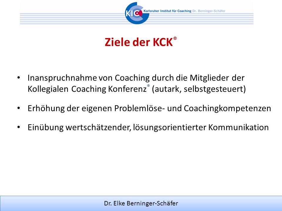 Dr. Elke Berninger-Schäfer Inanspruchnahme von Coaching durch die Mitglieder der Kollegialen Coaching Konferenz ® (autark, selbstgesteuert) Erhöhung d