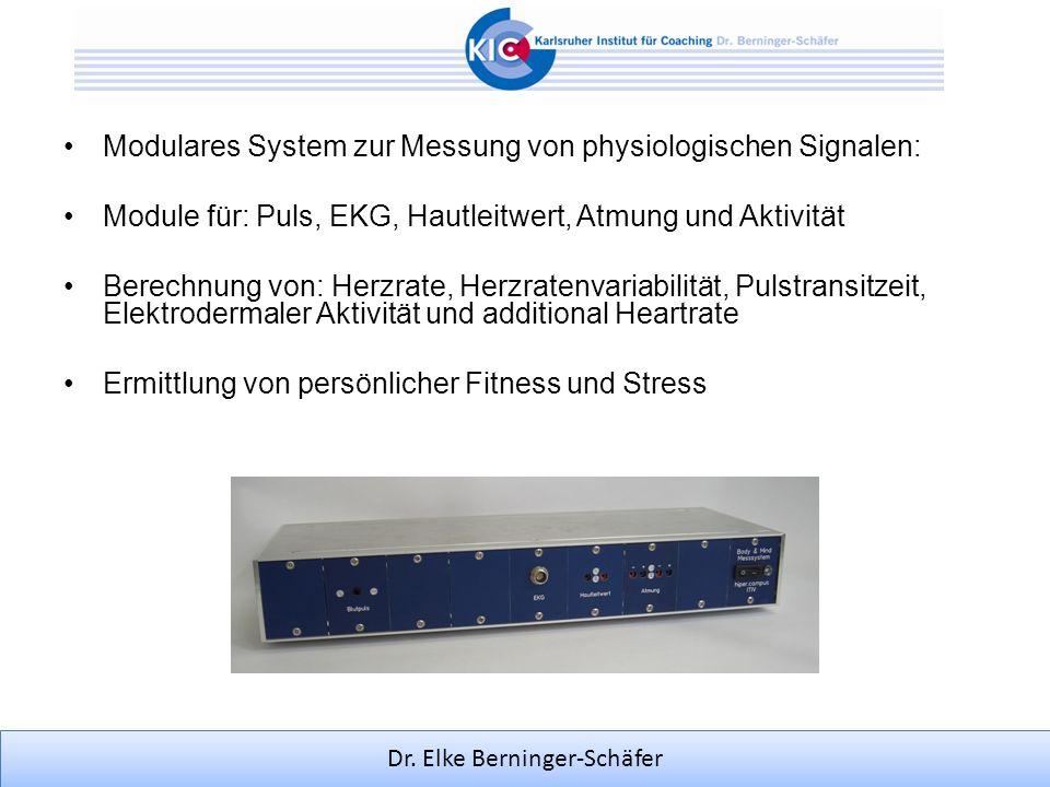Dr. Elke Berninger-Schäfer Modulares System zur Messung von physiologischen Signalen: Module für: Puls, EKG, Hautleitwert, Atmung und Aktivität Berech