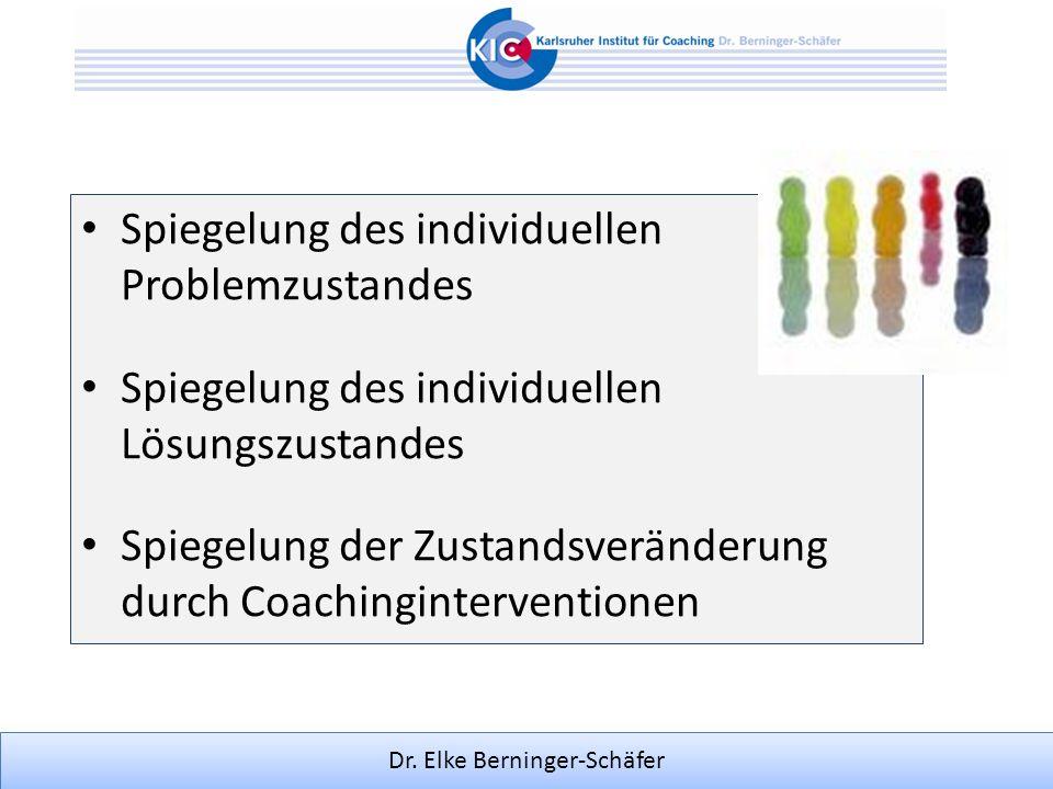 Dr. Elke Berninger-Schäfer Spiegelung des individuellen Problemzustandes Spiegelung des individuellen Lösungszustandes Spiegelung der Zustandsveränder
