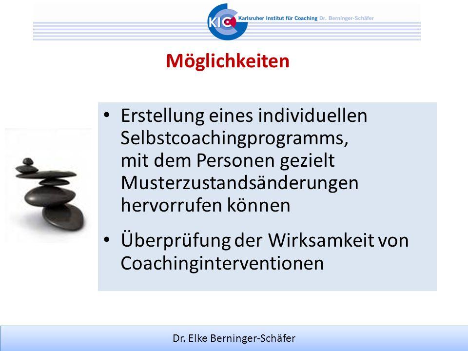 Dr. Elke Berninger-Schäfer Erstellung eines individuellen Selbstcoachingprogramms, mit dem Personen gezielt Musterzustandsänderungen hervorrufen könne