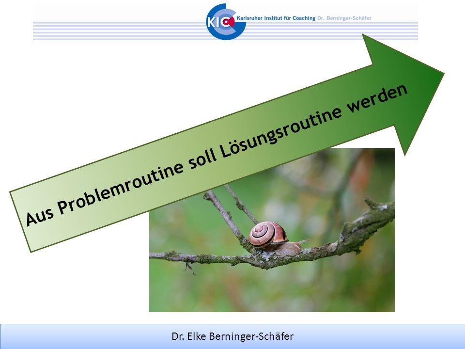 Dr. Elke Berninger-Schäfer Aus Problemroutine soll Lösungsroutine werden