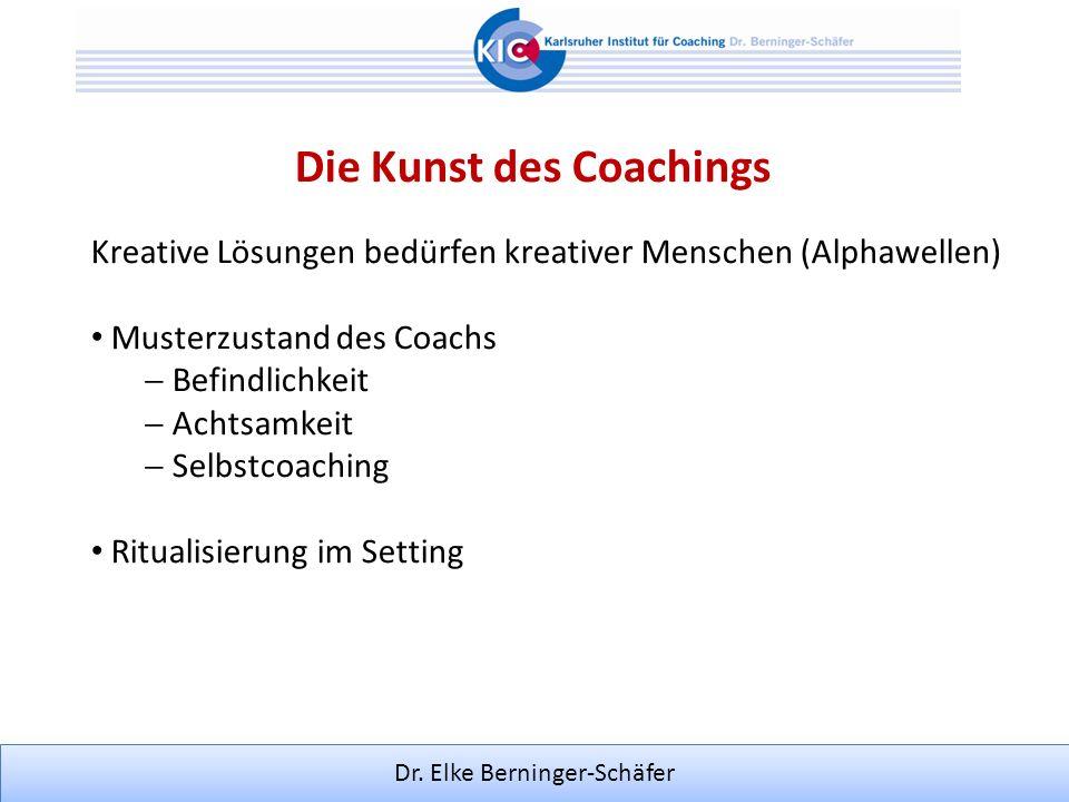 Dr. Elke Berninger-Schäfer Die Kunst des Coachings Kreative Lösungen bedürfen kreativer Menschen (Alphawellen) Musterzustand des Coachs Befindlichkeit