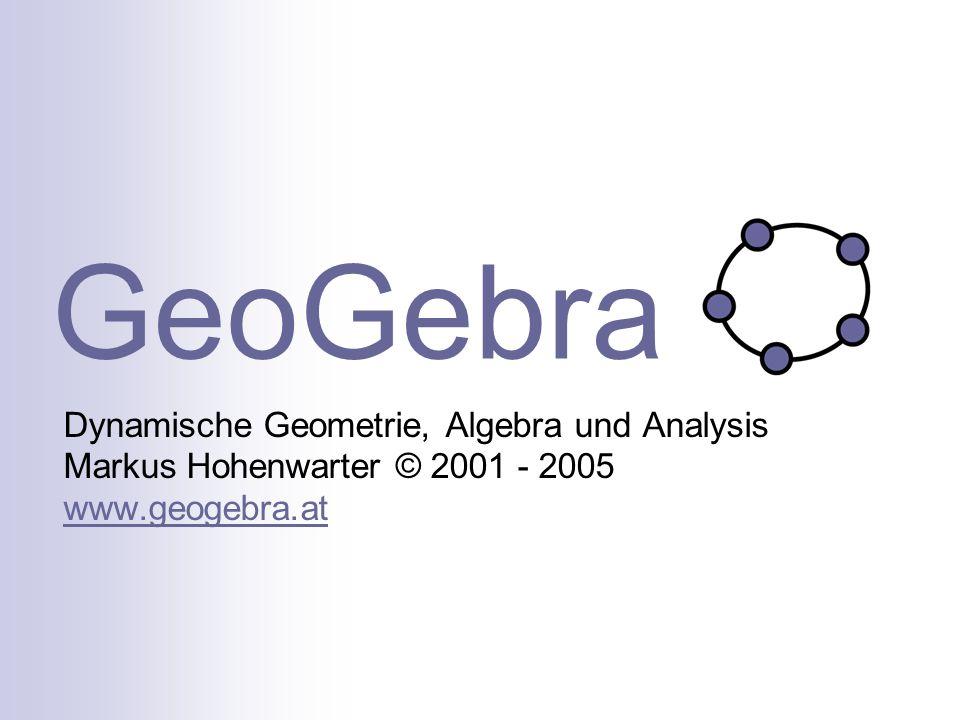 GeoGebra Dynamische Geometrie, Algebra und Analysis Markus Hohenwarter © 2001 - 2005 www.geogebra.at www.geogebra.at