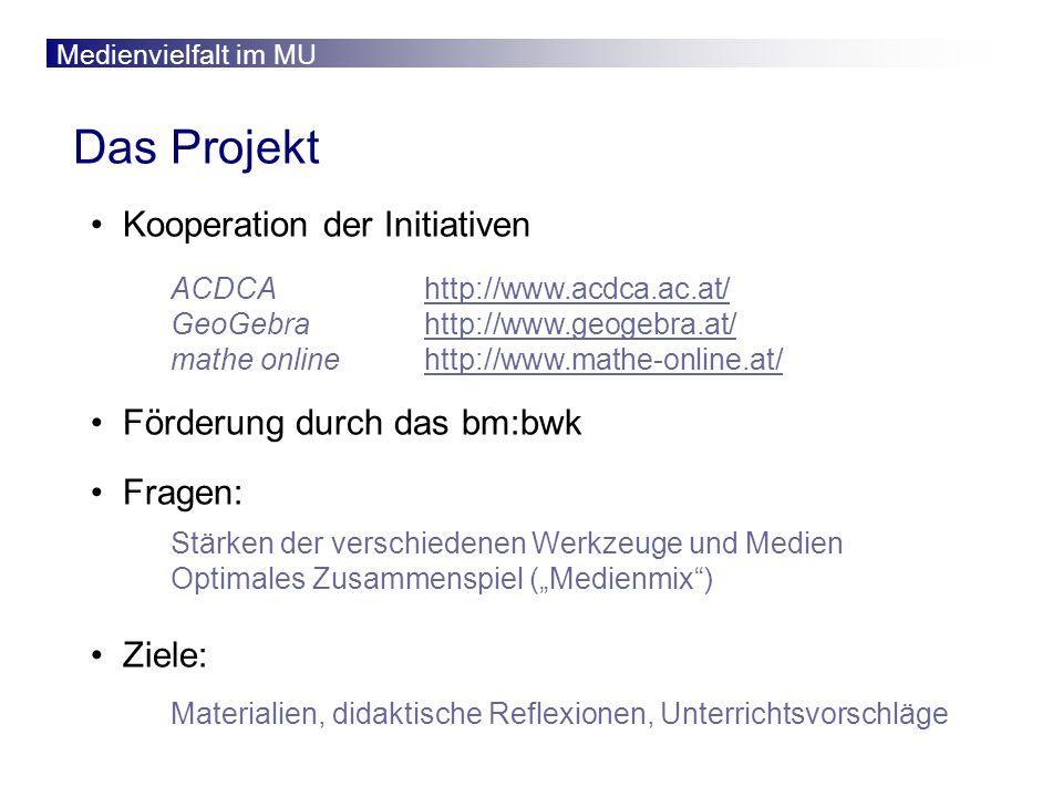 Medienvielfalt im MU Das Projekt Kooperation der Initiativen Förderung durch das bm:bwk Fragen: Ziele: ACDCA http://www.acdca.ac.at/http://www.acdca.ac.at/ GeoGebra http://www.geogebra.at/http://www.geogebra.at/ mathe online http://www.mathe-online.at/http://www.mathe-online.at/ Stärken der verschiedenen Werkzeuge und Medien Optimales Zusammenspiel (Medienmix) Materialien, didaktische Reflexionen, Unterrichtsvorschläge