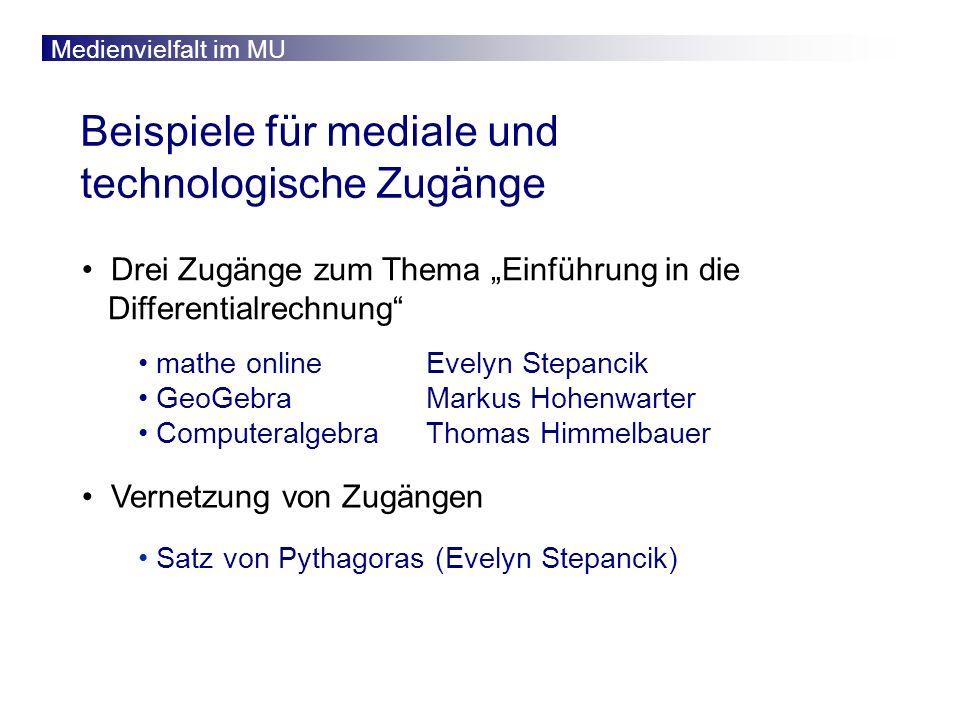 Medienvielfalt im MU www.mathe-online.at