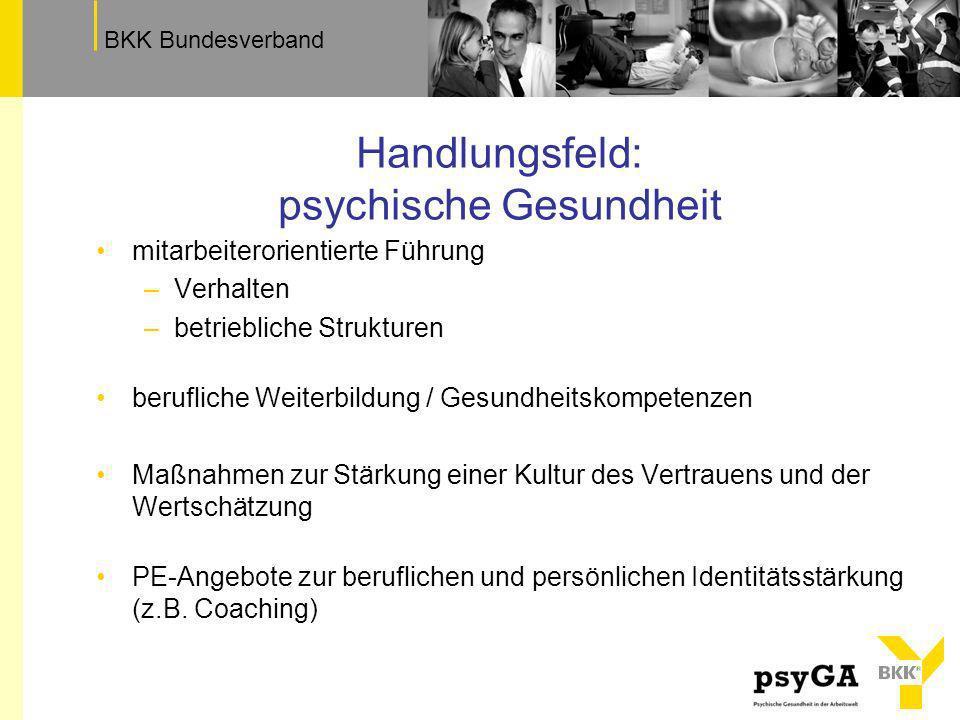 TextfeldBKK Bundesverband Handlungsfeld: psychische Gesundheit mitarbeiterorientierte Führung –Verhalten –betriebliche Strukturen berufliche Weiterbil